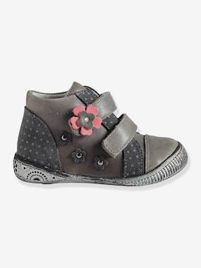 Vertbaudet Sale-Girls' Leather Touch 'N' Close Boots