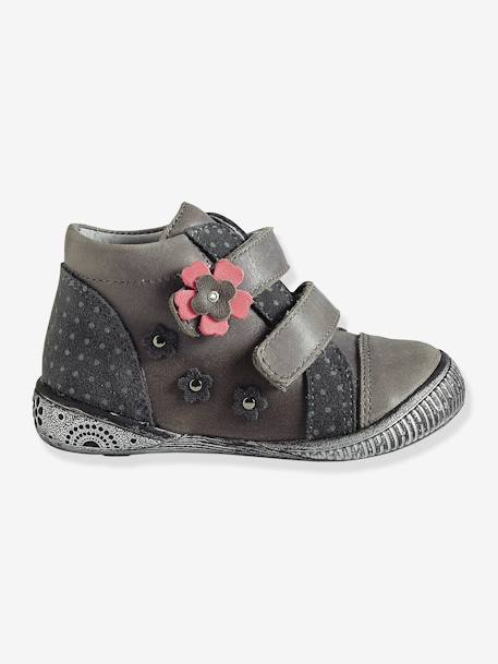 Girls' Leather Touch 'N' Close Boots Grey - vertbaudet enfant