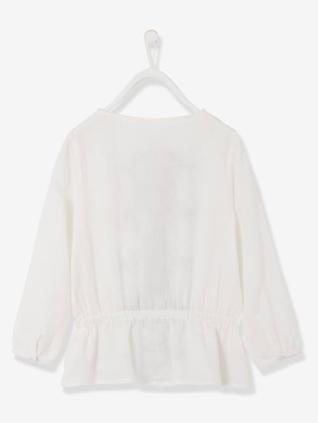 Girls Embroidered Tunic Pale pink+White - vertbaudet enfant
