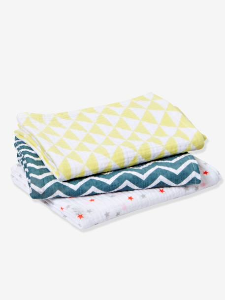 Pack of 3 Baby Nappies Grey/stripes and stars+Multicolour/geometric+Multicolour/stripes and polka - vertbaudet enfant