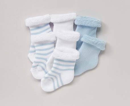 Newborn Baby Pack of 7 Pure Cotton Bootees Blue pack+Grey/white pack+Pink/white pack - vertbaudet enfant