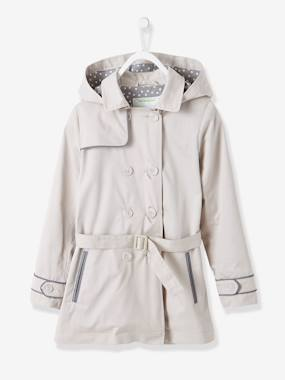 coats-Girls' Water-Repellent Trenchcoat with Detachable Hood