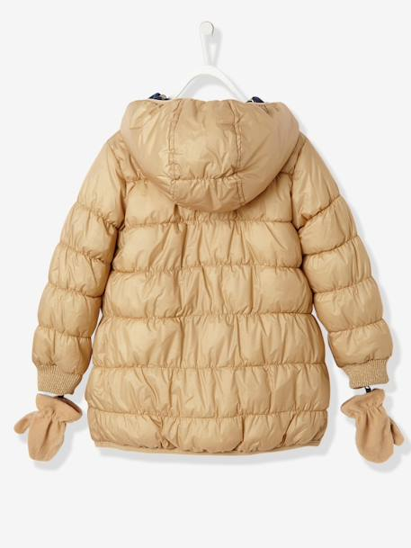Girls' Reversible Padded Jacket BEIGE MEDIUM TWO COLORS/MULTIC - vertbaudet enfant