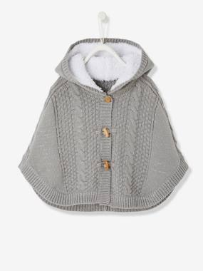 Baby-Jumpers, Cardigans & Sweaters-Baby Girls' Hooded Iridescent Knit Poncho