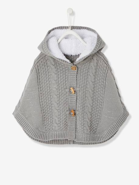 Baby Girls' Hooded Iridescent Knit Poncho BLUE DARK SOLID+GREY MEDIUM SOLID - vertbaudet enfant
