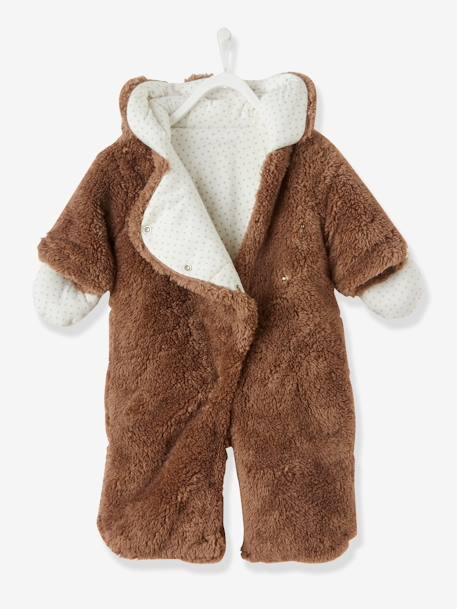 Newborn Faux Fur Convertible Snowsuit BEIGE DARK SOLID+WHITE LIGHT SOLID - vertbaudet enfant