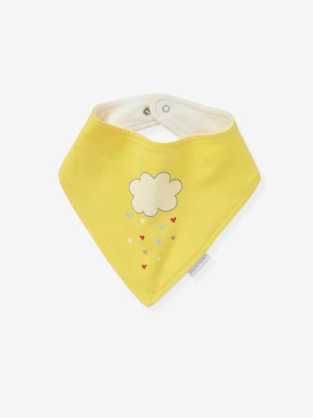 Pack of 2 Bandana-Style Bibs GREY LIGHT SOLID WITH DESIGN+YELLOW MEDIUM SOLID WTH DESIGN - vertbaudet enfant