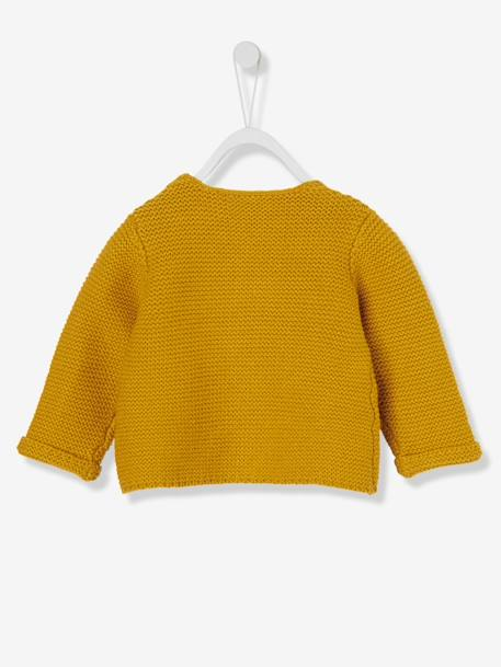 Baby's Garter Stitch Knit Cardigan BLUE DARK SOLID+ORANGE BRIGHT SOLID+RED BRIGHT SOLID+WHITE MEDIUM SOLID+YELLOW DARK SOLID - vertbaudet enfant