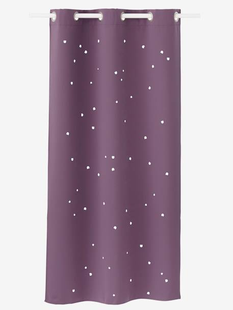 Hollow Star Curtain with Cat Head Cutouts PURPLE DARK SOLID WITH DESIGN - vertbaudet enfant