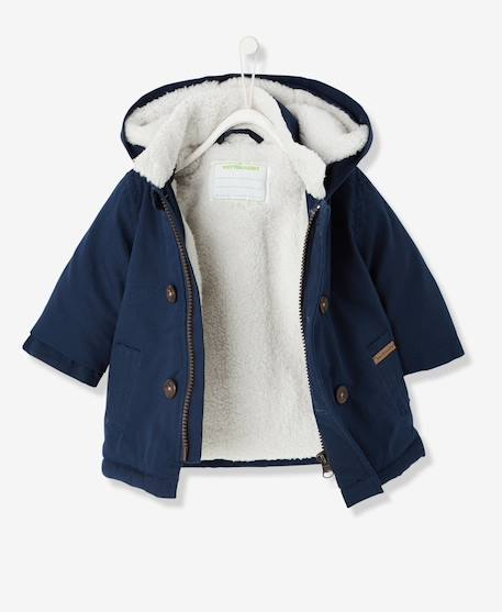 Baby Boys' Plush Lined Parka BLUE DARK SOLID+RED DARK SOLID - vertbaudet enfant