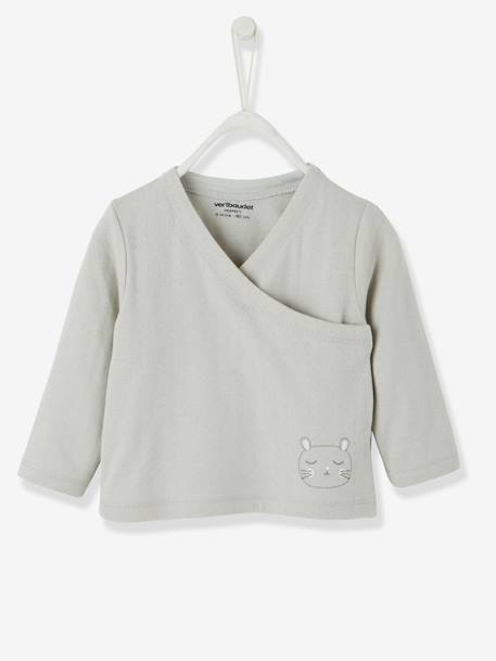 Stylish Baby Cardigan in Pure Organic Cotton GREY LIGHT SOLID WITH DESIGN+WHITE LIGHT SOLID WITH DESIGN - vertbaudet enfant