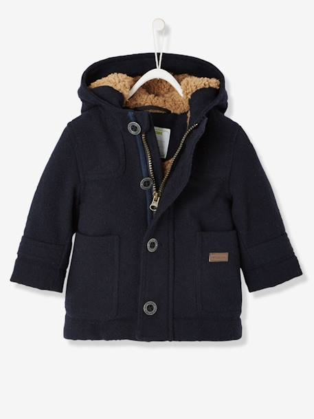 Baby Boys' Padded Duffle Coat with Warm Lining BLUE DARK SOLID+RED DARK SOLID+YELLOW DARK MIXED COLOR - vertbaudet enfant