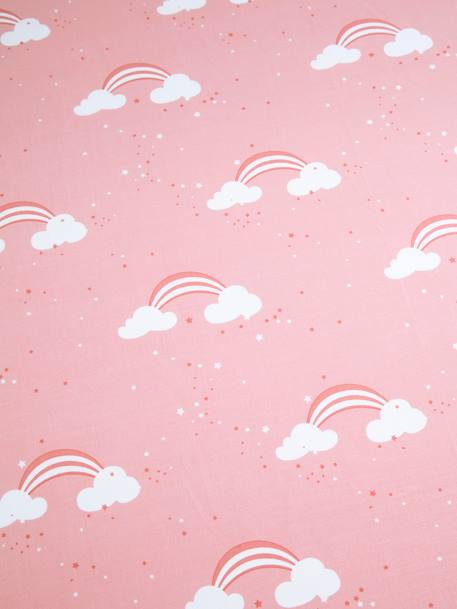 Children's Fitted Sheet, Unicorn Theme PINK LIGHT ALL OVER PRINTED - vertbaudet enfant