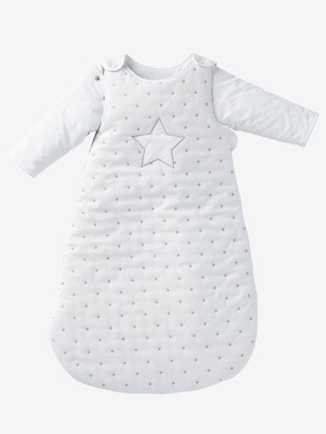 Sleep Bag with Removable Sleeves, Star Shower Theme WHITE LIGHT SOLID WITH DESIGN - vertbaudet enfant