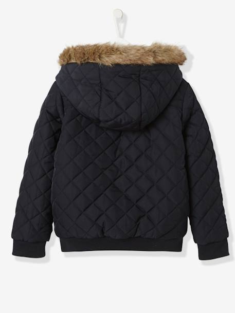 Girls' Reversible Bomber-Style Padded Jacket BLACK DARK SOLID+BLUE DARK SOLID WITH DESIGN+PURPLE DARK SOLID - vertbaudet enfant