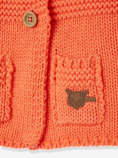Gilet bébé fille en tricot points mélangés Gris+Orange - vertbaudet enfant