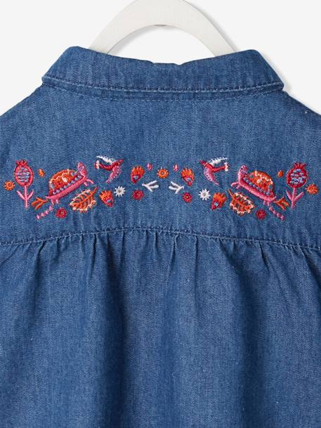 Baby Girls' Pure Cotton Denim Shirt BLUE DARK WASCHED - vertbaudet enfant