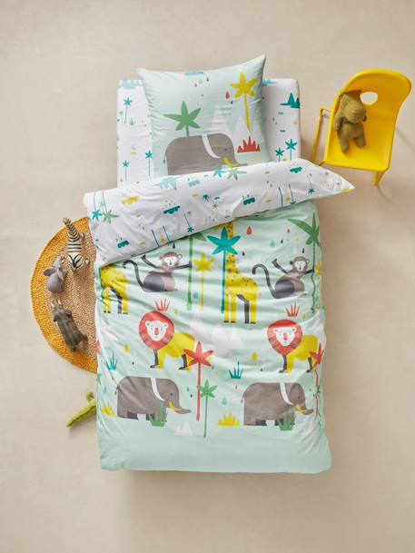 Children's Fitted Sheet, African Safari Theme WHITE LIGHT SOLID WITH DESIGN - vertbaudet enfant