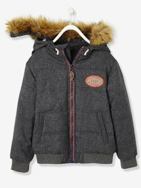 Vertbaudet Sale-Boys-Boys' Chambray Padded Jacket with Hood