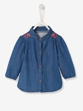 Baby-Blouses & Shirts-Baby Girls' Pure Cotton Denim Shirt