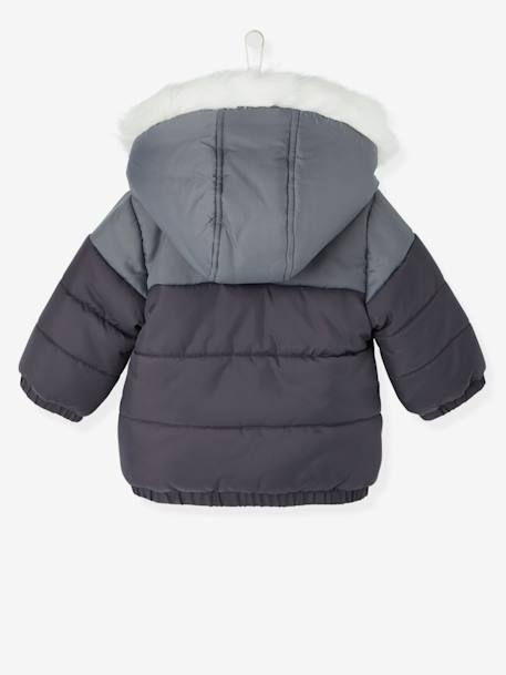 Boys' Hooded & Lined Padded Jacket GREY DARK SOLID - vertbaudet enfant
