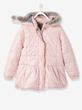 Girl-Girls' Printed Hooded Padded Jacket