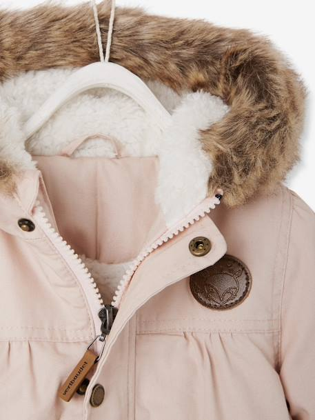 Baby Girls' Padded Parka with Lining PINK LIGHT SOLID - vertbaudet enfant