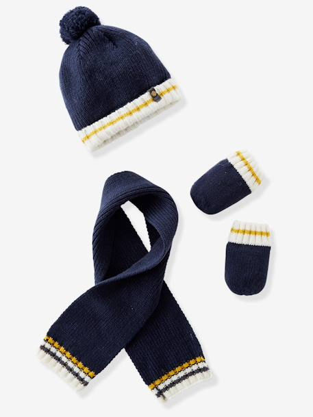 Baby Boys' Lined Knitted Beanie, Scarf & Mittens Set BLUE DARK SOLID+GREY MEDIUM MIXED COLOR - vertbaudet enfant