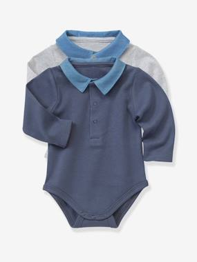 Schoolwear-Baby-Pack of 2 Baby Bodysuits with Polo Collar