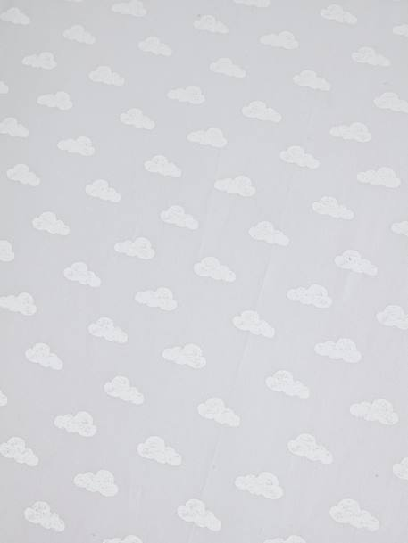 Baby Fitted Sheet, Dream Cloud Theme GREY LIGHT ALL OVER PRINTED - vertbaudet enfant