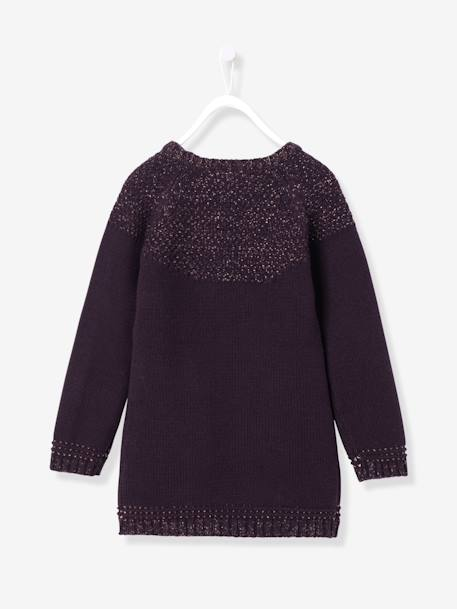 Girls' Stylish Jumper Dress GREY LIGHT MIXED COLOR+PURPLE DARK SOLID WITH DESIGN - vertbaudet enfant