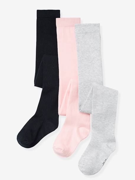 Lot de 3 collants en jersey fille Gris moyen chiné+Lot jaune moutarde+Lot parme grisé+Lot rose pâle+Lot rouge+Lot vert - vertbaudet enfant