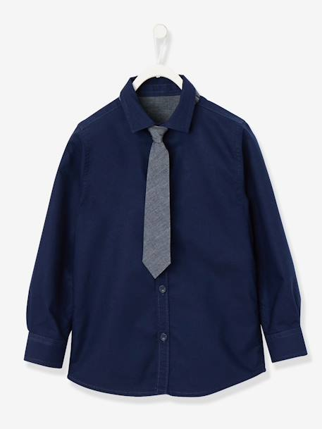 Boys' Shirt with Tie BLUE DARK SOLID - vertbaudet enfant
