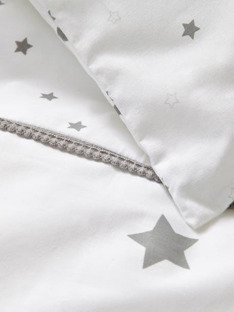 Baby Duvet Colour, Star Shower Theme WHITE LIGHT SOLID WITH DESIGN - vertbaudet enfant