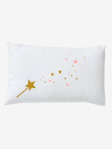 Baby Pillowcase, Magic Theme PINK LIGHT SOLID WITH DESIGN - vertbaudet enfant