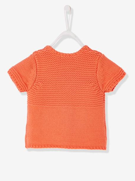 Baby Girls' Cardigan with Diversified Stitching GREY MEDIUM SOLID+ORANGE MEDIUM SOLID - vertbaudet enfant