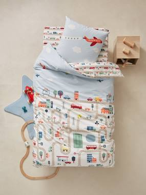 Vertbaudet Sale-Bedding-Children's Duvet Cover & Pillowcase Set, Auto City Theme