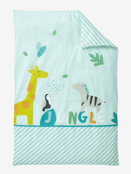 Baby Duvet Cover, Jungle Party Theme GREEN LIGHT SOLID WITH DESIGN - vertbaudet enfant