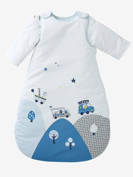 Sleep Bag with Removable Sleeves, Circus Theme WHITE LIGHT SOLID WITH DESIGN - vertbaudet enfant