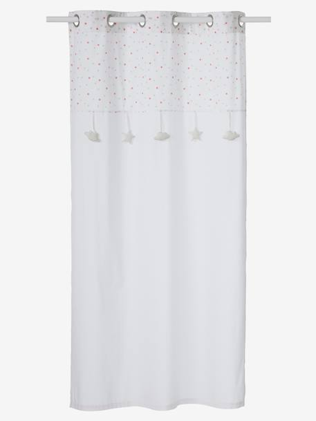 Curtain with Stars WHITE LIGHT SOLID WITH DESIGN - vertbaudet enfant