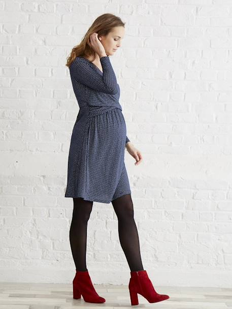 Adaptable Maternity & Nursing Wrapover Dress Black+Printed navy+RED LIGHT ALL OVER PRINTED - vertbaudet enfant