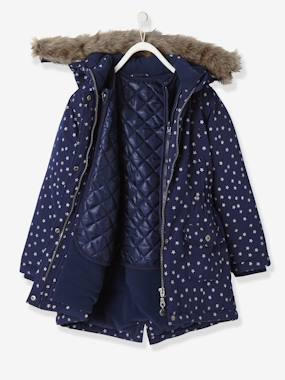 Heure anglaise-Girls' 3-in-1 Parka with Polar Fleece Lining