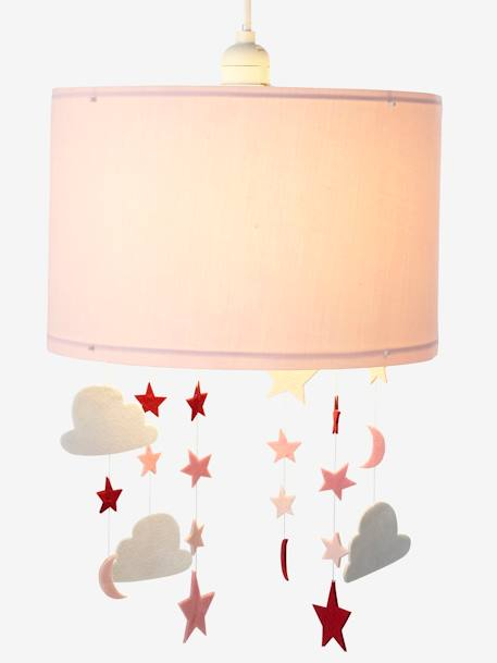 Stars & Clouds Hanging Lampshade PINK MEDIUM SOLID WITH DESIG - vertbaudet enfant