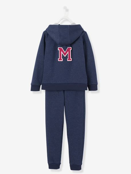 Girls' Zip-Up Sweatshirt & Joggers Set BLUE DARK SOLID WITH DESIGN - vertbaudet enfant