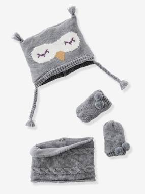 Outlet-Ensemble bonnet + moufles + tour de cou chouette bébé fille
