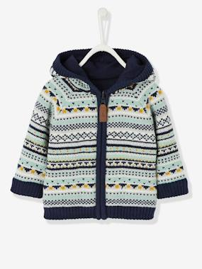 Baby-Cardigans & Sweaters-Baby Boys' Reversible Jacket with Hood