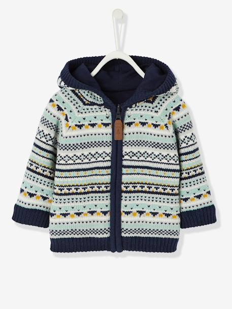 Baby Boys' Reversible Jacket with Hood BLUE DARK ALL OVER PRINTED - vertbaudet enfant