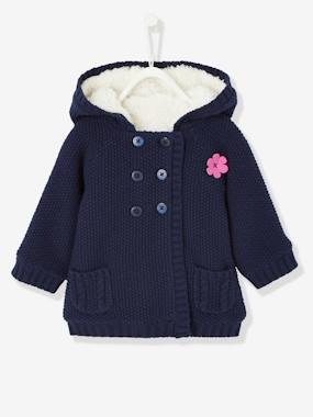 Baby-Knitwear, cardigan, sweatshirt-Baby Girls' Long Cardigan with Plush Lining