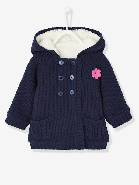 Baby Girls' Long Cardigan with Plush Lining BLUE DARK SOLID+BROWN LIGHT SOLID - vertbaudet enfant