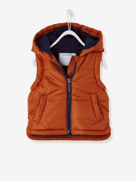 Baby Boys' Padded Jacket with Detachable Sleeves BROWN MEDIUM SOLID - vertbaudet enfant